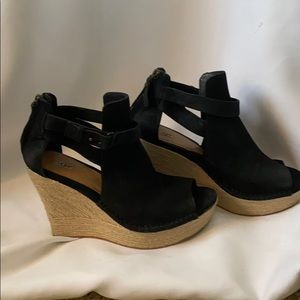 UGG black suede platform wedge with ankle strap